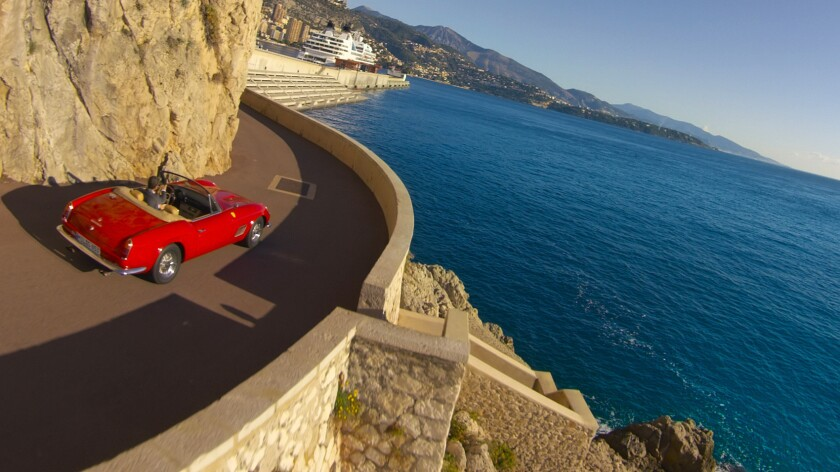 A scene along the Monoco coast from the Racing Legends motion simulator ride at the recently opened