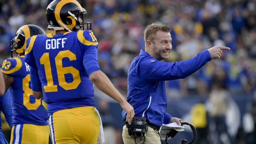 Los Angeles Rams head coach Sean McVay celebrates after a touchdown by Brandin Cooks during the firs