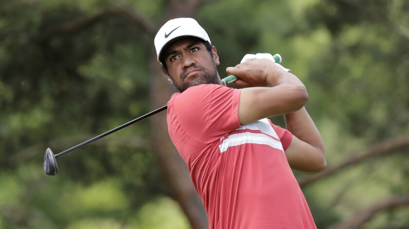 Tony Finau hits from the second tee during the second round of the Memorial on July 17, 2020, in Dublin, Ohio.