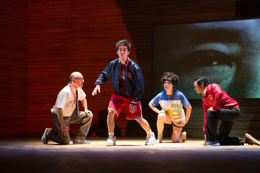 "James Eckhouse, left, Justin Chien, Christine Lin and Grant Chang in ""The Great Leap"" at the Pasadena Playhouse."