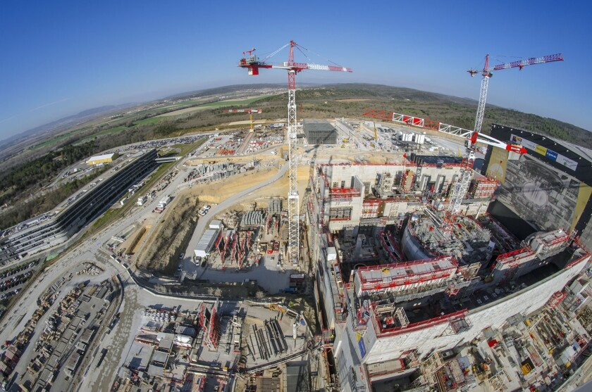 """A March 2019 photo of the construction of the ITER nuclear fusion project near the town of Cadarache, France. The facility is part of a gigantic international effort. San Diego's General Atomics is fabricating what is called a """"Central Solenoid"""" that will be inserted into the heart of the ITER project."""