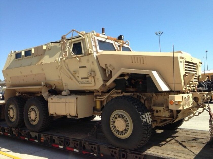 The Mine-Resistant Ambush-Protected (MRAP) vehicle that the San Diego Unified School District police received from the U.S. military. The vehicle was going to be repainted. Photo courtesy SDUSD