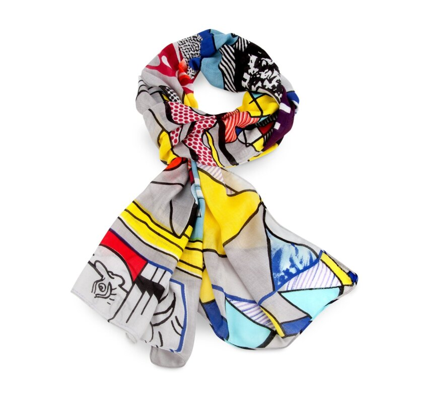 This undated photo Courtesy of MoMA shows a scarf inspired by Roy Lichtenstein's Greene Street Mural. (MoMa via AP)