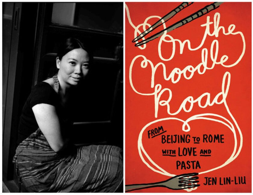 """Author Jen Lin-Liu and the cover of her book, """"On the Noodle Road."""""""