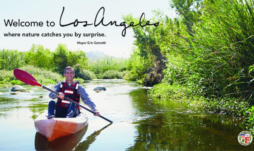 L.A. Mayor Eric Garcetti in a new photograph campaign by artist Catherine Opie for Los Angeles International Airport.