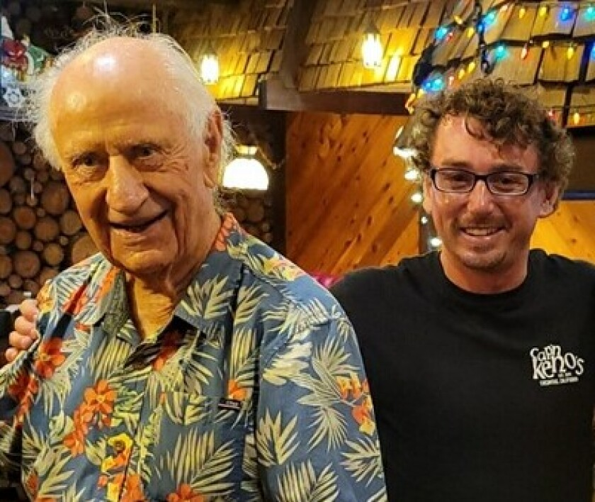 "Longtime La Jolla surfer Jack ""Woody"" Ekstrom, 93 (left), meets Colin Friedkin at Captain Keno's restaurant in Encinitas."