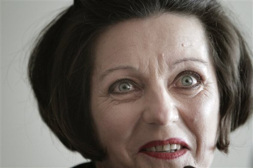 Romanian born Literature Nobel Prize winner, German writer Herta Mueller, reacts during a press conference in Bucharest, Romania, Monday, Sept. 27, 2010. Mueller is on her first visit to native Romania after getting the Nobel prize in 2009.(AP Photo/Vadim Ghirda)