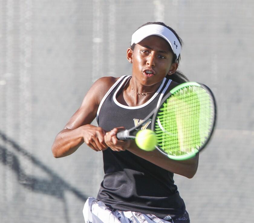 Westview girls tennis player Kaila Barksdale