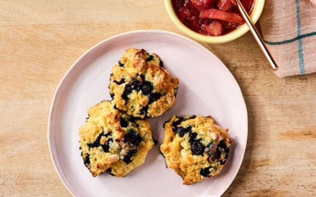 Blueberry Biscuits with Rhubarb Compote