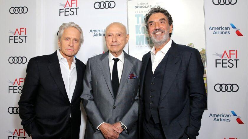 "Michael Douglas, Alan Arkin and Chuck Lorre attend the Los Angeles premiere of ""The Kominsky Method"" in November."