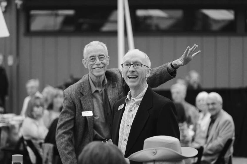Wayne Peterson, left, and his longtime partner Terry Smith attend the Laguna College of Art and Design's 25th Annual Collector's Choice in June 2014.