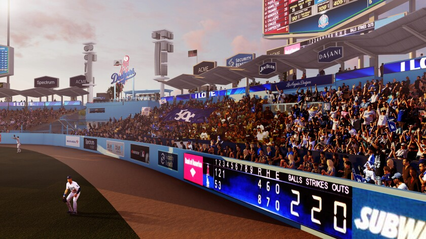 A rendering of the renovations coming to the pavilion seating area at Dodger Stadium.