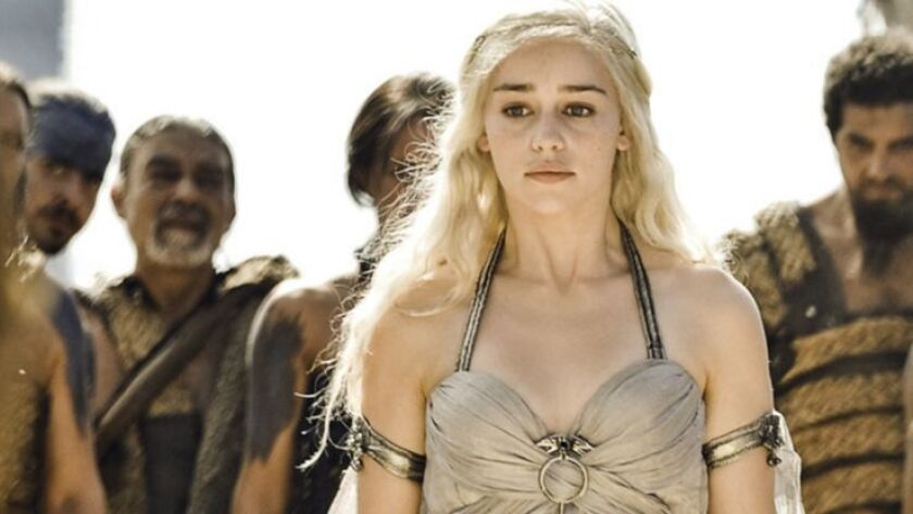 Scene from the HBO series Game of Thrones. Emilia Clarke. photo credit Helen Sloan/HBO