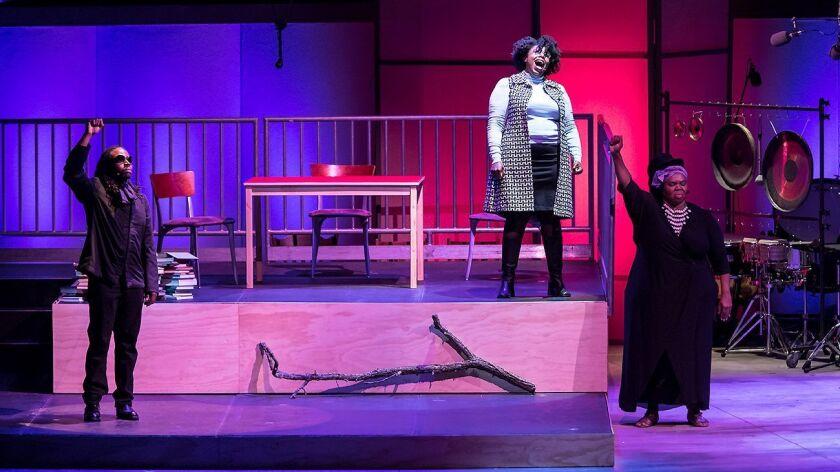 """Julian Otis (left), Joelle Lamarre and Gwendolyn Brown perform in """"Afterword."""""""