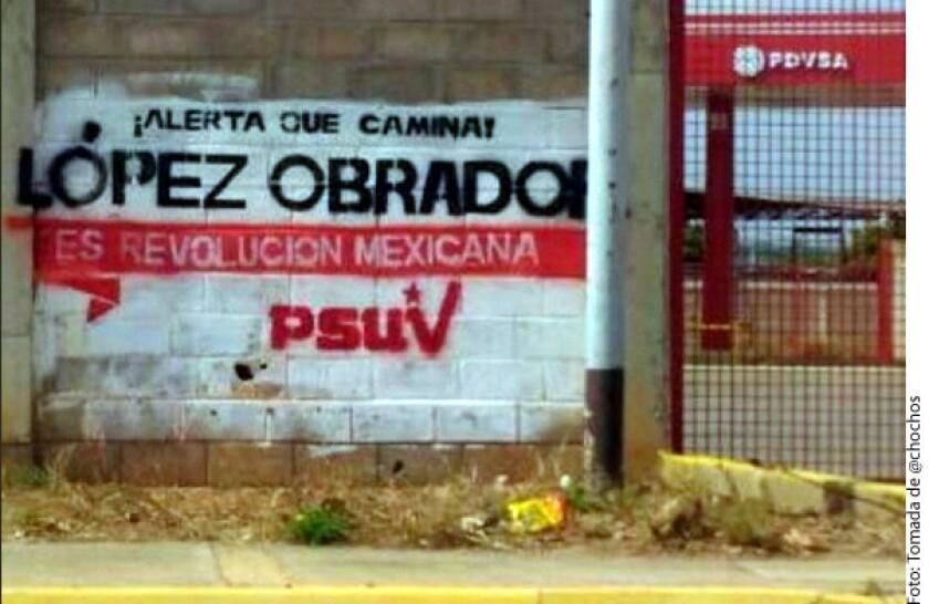 Las pintas en muros de Venezuela con el nombre de Andrés Manuel López Obrador son parte de la guerra sucia contra el precandidato presidencial, aseveró César Yáñez, vocero de Morena.