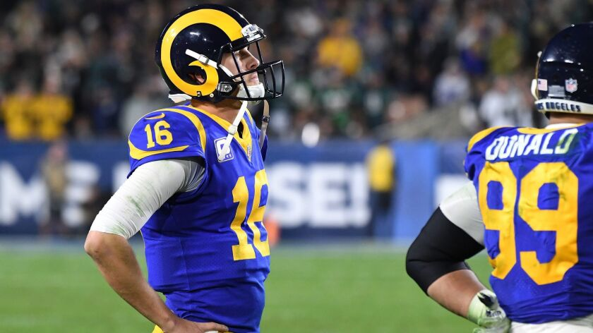 LOS ANGELES, CALIFORNIA DECEMBER 16, 2018-Rams quarterback Jared Goff watches as his team missed on