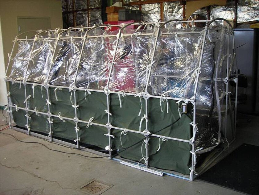 An Aeromedical Biological Containment System, which looks like a sealed isolation tent, for Ebola patient air transportation is shown in an undated photo.