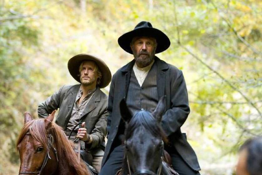 "Johnse Hatfield (Matt Barr, left) and Devil Anse Hatfield (Kevin Costner) in ""Hatfields & McCoys."""