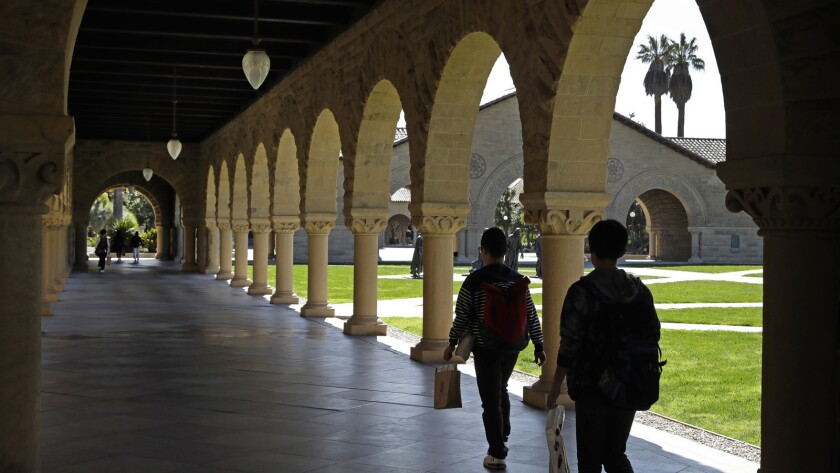 Above, students at Stanford. In the first lawsuit to come out of the college admissions scandal, several students are suing Yale, Stanford and other schools, saying they were denied a fair shot at admission.