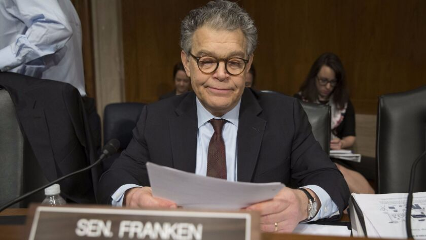 Sen. Al Franken appears in Washington on Nov. 29.