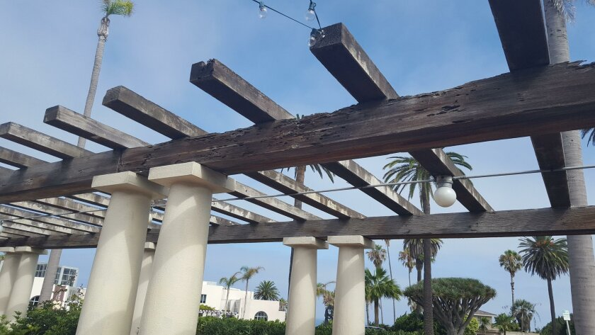 Wooden beams above the La Jolla Woman's Club patio, at more than 100 years old, are slated for repair, but subject to the city's permit process.