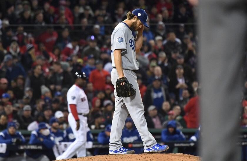 Dodgers' Clayton Kershaw between pitches during Game 1 at Boston on Tuesday night.