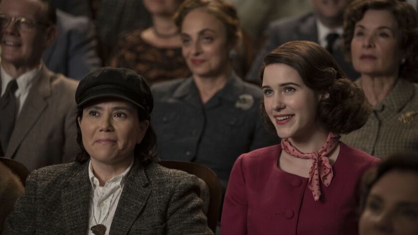"""This image released by Amazon shows Alex Borstein, left, and Rachel Brosnahan in """"The Marvelous Mrs."""