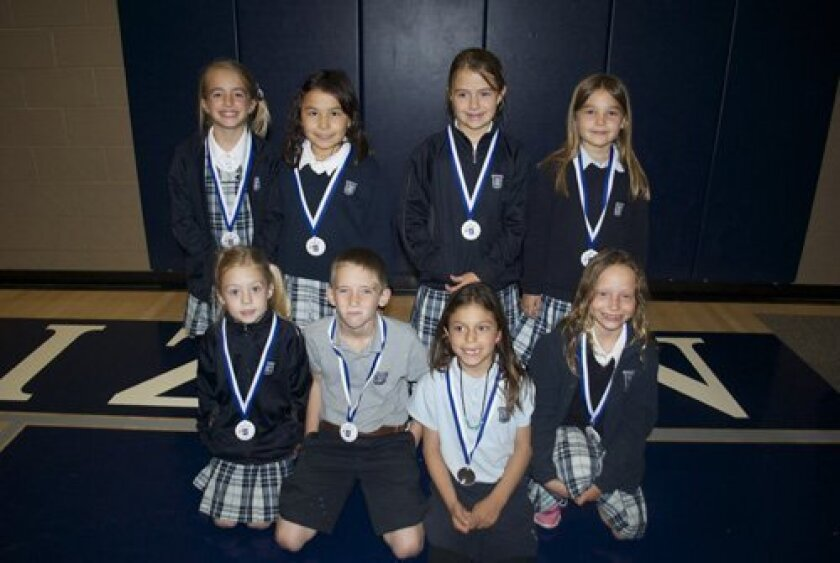 Second grade Spanish Speaking Bee Finalists: First row (L-R): Rachel Coons, Luke Martin, Erika Vargas, Lauren Phillip; Second row (L-R): Presley Taylor, Abigail Shaull, Greer Wetmore, Nicole Campbell