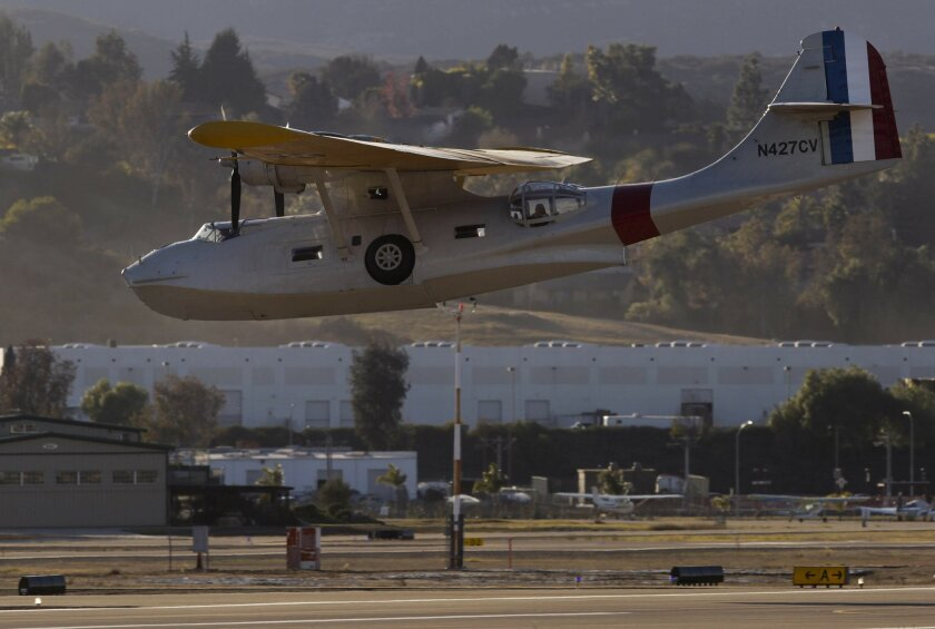 A PBY Catalina lands at Gillespie Field after a 12,000-mile, 16-leg trip from South Africa.