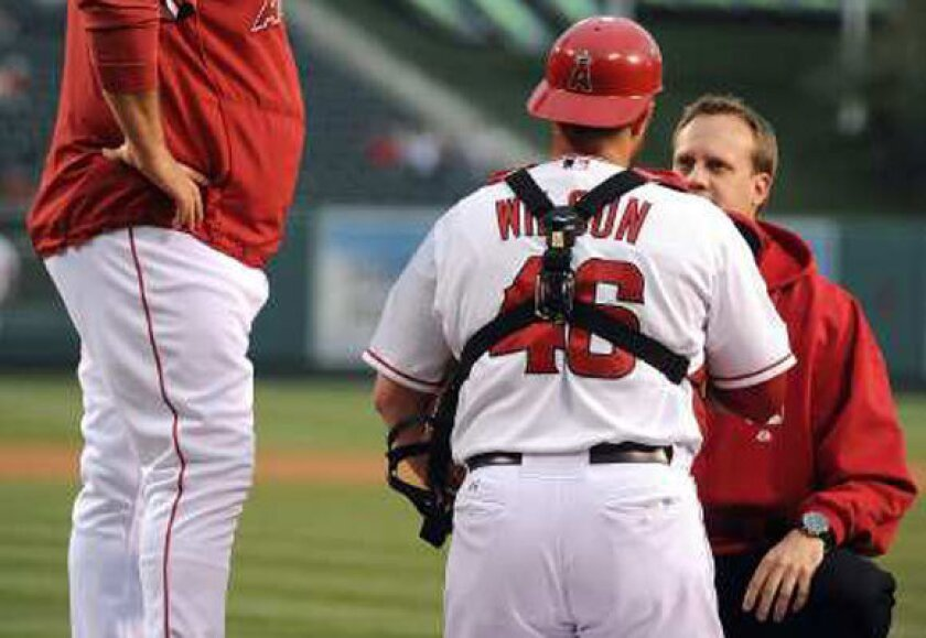 An Angels trainer examines catcher Bobby Wilson after he was injured Monday night.