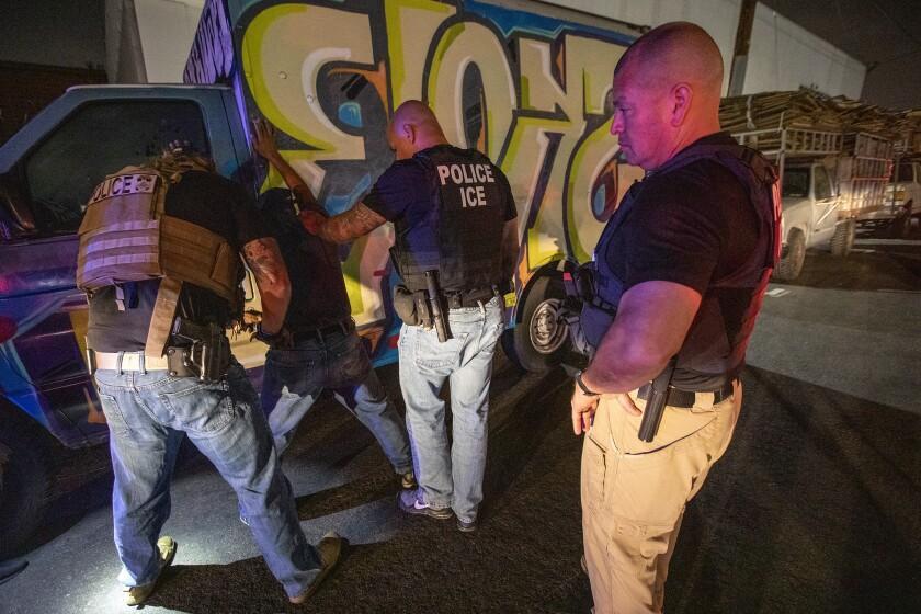 Immigration and Customs Enforcement officials arrest a Mexican immigrant