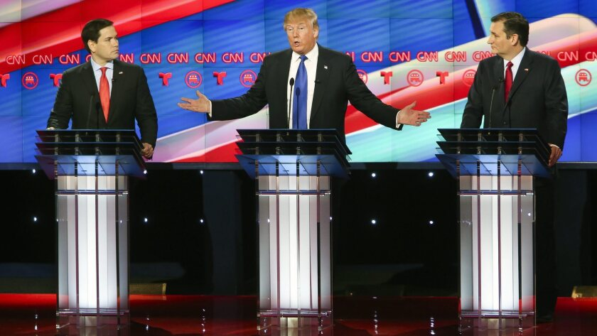 Marco Rubio, Donald Trump and Ted Cruz take part in a 2016 debate.