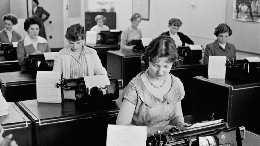 Women in the workplace in 1955.