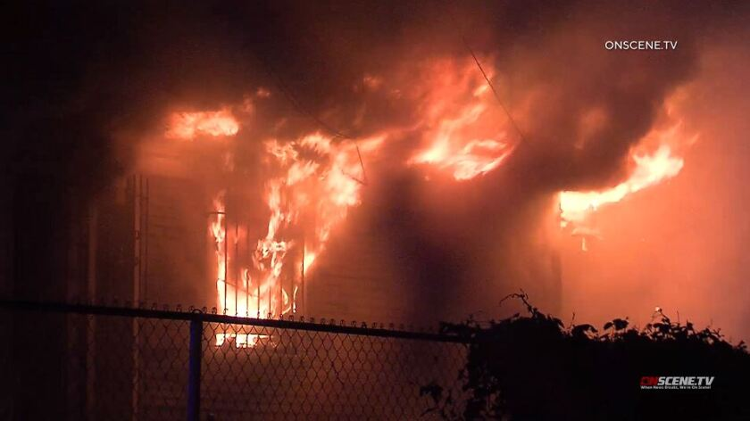 Six dogs were found dead inside a Pomona home after a fire broke out early Wednesday morning, authorities said.