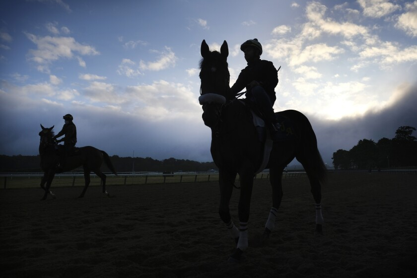 Horses and riders arrive to the track for workouts at Belmont Park in Elmont, N.Y.