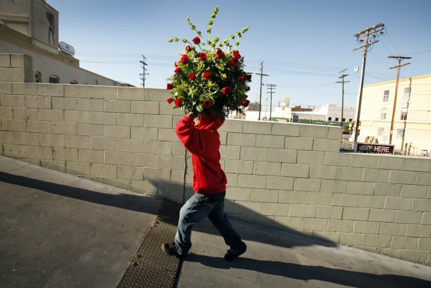Jose Bernardo delivers a huge bouquet of roses.
