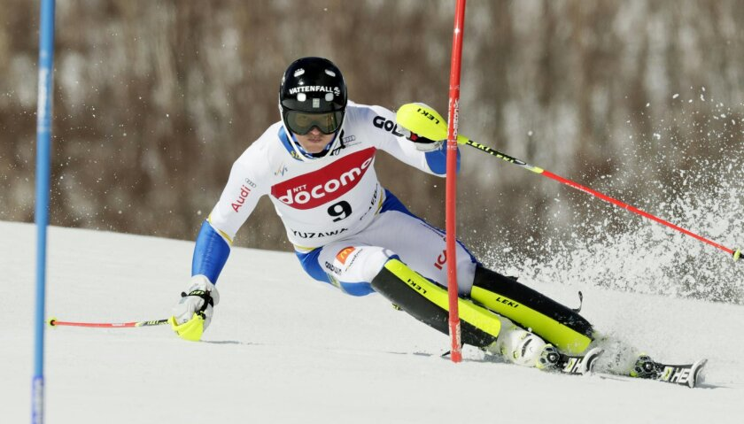 Andre Myhrer of Sweden competes during the first run in the men's slalom at the FIS Alpine Ski World Cup Sunday, Feb. 14, 2016, in Yuzawa, northern Japan. Myhrer was placed second after Felix Neureuther of Germany. (Yusuke Ogata/Kyodo News via AP)  JAPAN OUT, MANDATORY CREDIT