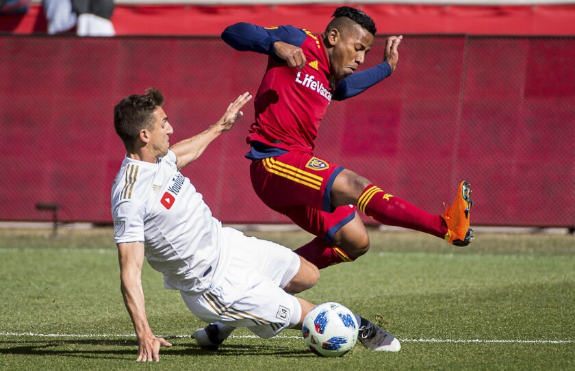 Los Angeles FC defender Dejan Jakovic (5) challenges Real Salt Lake forward Joao Plata (10) for the