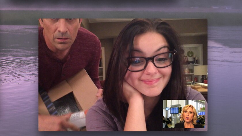"""Ty Burrell (obscured), Ariel Winter  and Julie Bowen in """"Modern Family"""" on ABC."""
