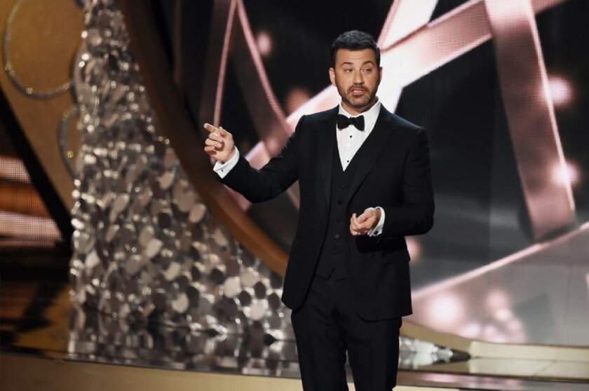 Host Jimmy Kimmel onstage during the 68th Primetime Emmy Awards at the Microsoft Theater on Sept. 18, 2016 in, Los Angeles.