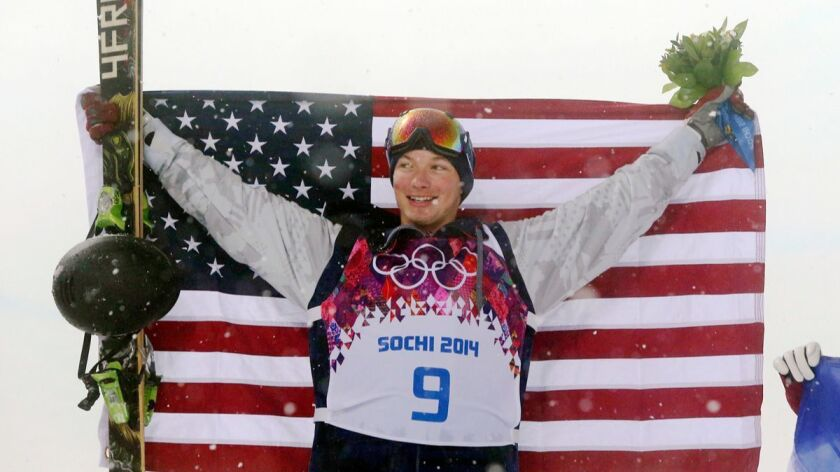 FILE - In this Feb. 18, 2014, file photo, gold medalist David Wise, of the United States, celebrates