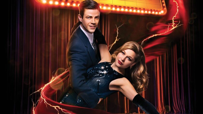 """The Flash (Grant Gustin) and Supergirl (Melissa Benoist) in their CW musical crossover episode """"The Duet."""""""