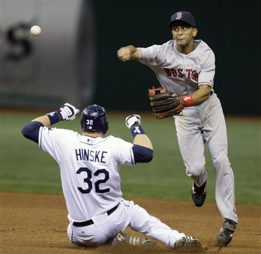 Boston Red Sox shortstop Julio Lugo, right, forces Tampa Bay Rays' Eric Hinkse (32) at second base and relays the throw to first base to turn a second-inning double play on Rays' Dioner Navarro during a baseball game Monday, June 30, 2008 in St. Petersburg, Fla. (AP Photo/Chris O'Meara)