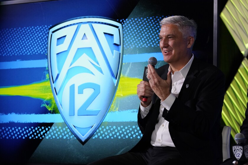 Pac-12 Commissioner George Kliavkoff fields questions during Pac-12 media day