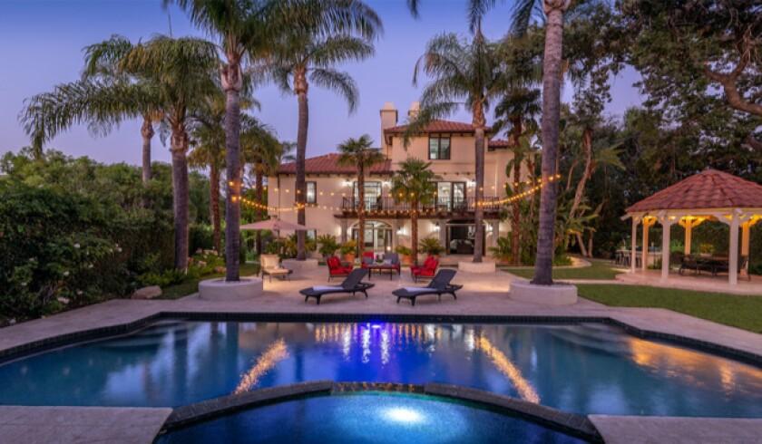 Backyard of JaVale McGee's Encino home, with pool and gazebo.