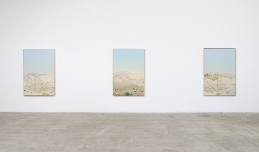 """An installation view of Jake Longstreth's """"Carbon Canyon"""" series at Ltd. Los Angeles."""