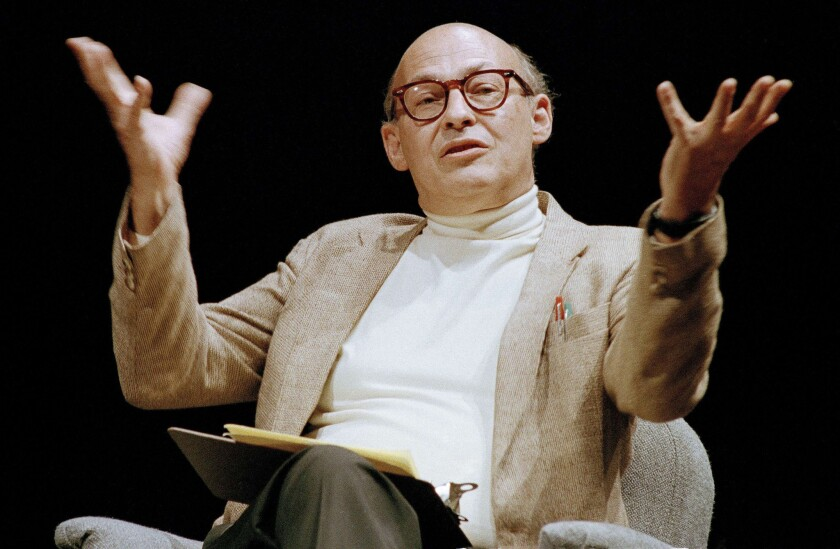 Marvin Minsky speaks during a 1987 panel discussion on artificial intelligence in Seattle.