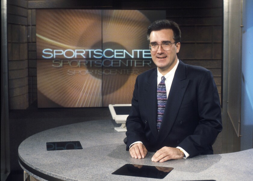 "ESPN on-air personality Keith Olbermann at the ""SportsCenter"" studio set in 1996. He is rejoining ESPN to host a weeknight talk show."