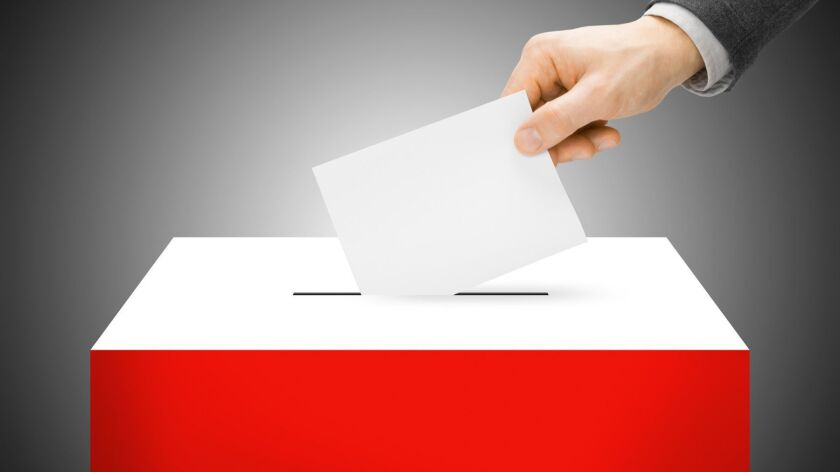 Voting concept - Ballot box painted into national flag colors - Poland