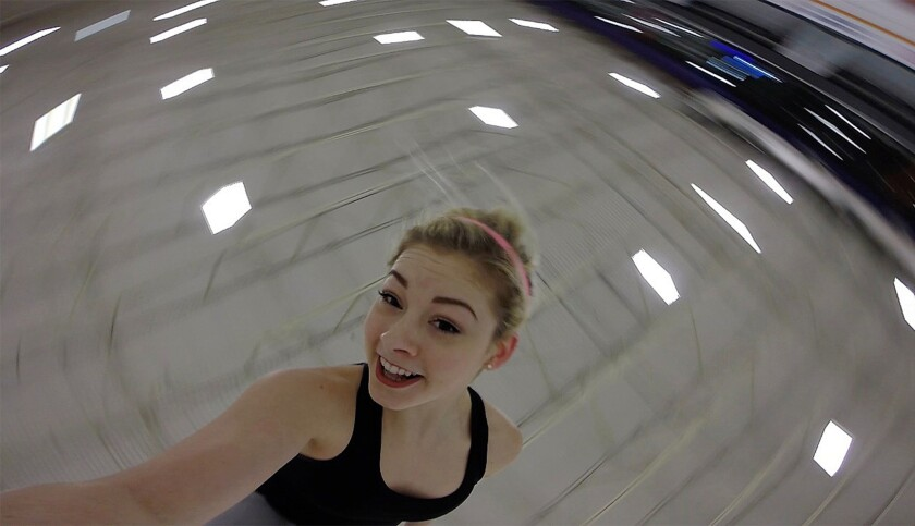 Gracie Gold, two-time U.S. national figure skating champion, takes a photo while practicing her tilted spin move at the Toyota Sports Center on Feb. 3, 2016.